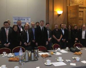 22 janvier 2019 : petit déjeuner avec Arnaud MONTEBOURG, Président de la société Les Equipes du Made in France, co-fondateur de la marque de miels de repeuplement Bleu Blanc Ruche, ancien ministre